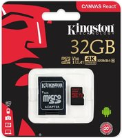 SDHC Card Micro 32GB Kingston UHS-I U3 Canvas React