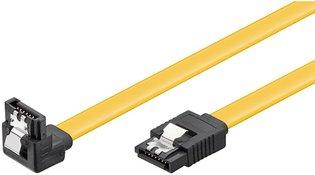 SATA Goobay 1.00m 6GBs 90° hoek met clip Geel