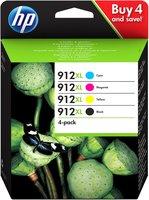 HP No.912XL 4-Pack BK, C,M,Y 51,4ml (Origineel)