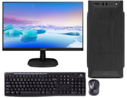 Tower - intel i3 10100 - 8GB - 250GB SSD NVMe - toetsenbord-muis - luidsprekers - 24 inch scherm