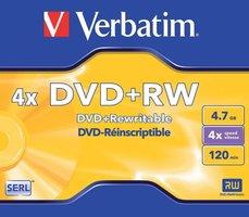 Verbatim DVD+RW 4.7 GB 5 stuks Jewel 4x