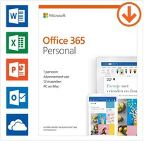 Microsoft Office 365 Personal 1PC/MAC 1jaar Via ESD